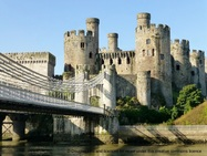 Conwy Castle and suspension bridge and link to our around Conwy page